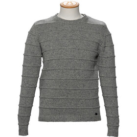 Alchemy Equipment 3GG Lambswool Tweed Stripe Stitch Suéter Cuello Barco Hombre, grey tweed